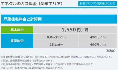 堀川産業の標準料金表(関東)