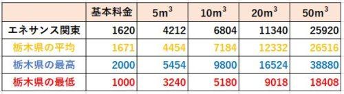 栃木県の料金比較(エネサンス関東)
